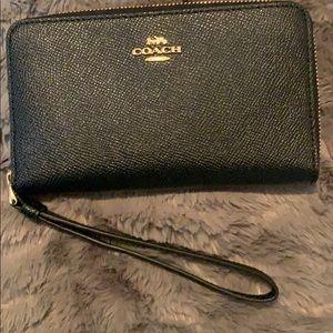 Coach  large leather phone case
